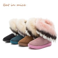 2018 winter new women boots casual rabbit fur warm flats boots women fashion lady snow boots shoes women Mujer 4 colors A100