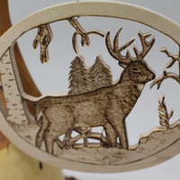 Whitetail ELK wood ornament - Original wood burned ornament - home decor ornament or mantle decor