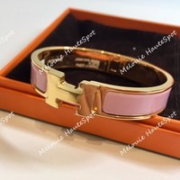 AUTH HERMES PM SMALL CLIC CLAC PINK WITH GOLD HARDWARE NARROW ENAMEL BRACELET