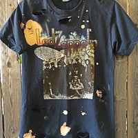 LED ZEPPELIN bleached, distressed, cut , rock n roll, heavy metal rock shirt, adult small