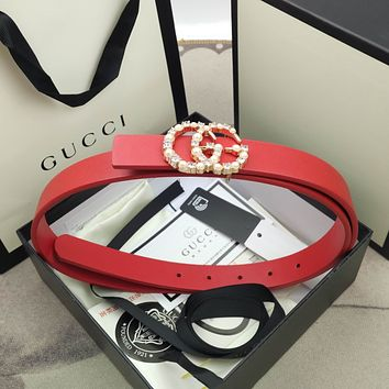 Gucci new fashion ladies high-end atmospheric pearl buckle belt