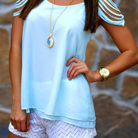 Cascading Waters Blouse: Pale Blue | Hope's