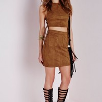 Missguided - Suede Lace Up Crop Top Tan