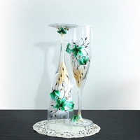 Beautiful hand decorated Wedding or Anniversary Champagne Glasses, elegant Toasting Flutes with beads and flowers