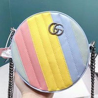 GUCCI Fashion New Multicolor Leather Chain Shopping Leisure Round Shoulder Bag Cossbody Bag