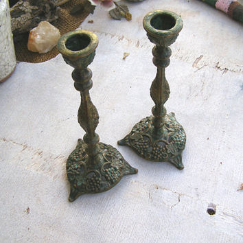 Verdigris Patina Candlestick Holders, Vintage Vine Grapes Brutalist Judaica Tableware, Sabbath Shabbat Candle Holders, Collectible Israel