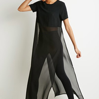Chiffon-Paneled Longline High-Slit Top