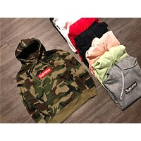 Supreme Box Embroidery Seal Hooded Sweater S-XXL