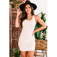 Lakeside Luxury Cable Knit Tank Dress (Taupe)