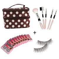 5pcs Personality Makeup Brush Set + 20 Pairs Synthetic Fiber False Eyelash + Double Layer Cosmetic Bag Brown