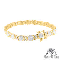 14K Gold Tone XOXO Cluster Set Lab Diamond 925 Sterling Silver Ladies Bracelet