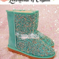 New Year SALES 30%off - Bling and Sparkly Green Winter BOOTS with Tiny Rhinestones all over