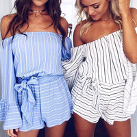 Galeena Pinstriped Two-Piece Romper