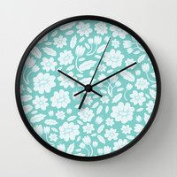 Blue Floral Wall Clock by Ornaart