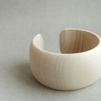 40 mm Wooden cuff  unfinished round with break - natural eco friendly DE40C