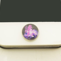 1PC Retro Epoxy Transparent Time Gems Alloy Flower Fairy Cell Phone Home Button Sticker Charm for iPhone 6,4s,4g,5,5c Gift for Him