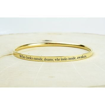 Comfort Fit Inspirational Bangles by Pink Box