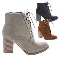 Lurk By Soda, Chunky Block High Heel Lace Up Combat Ankle Booties