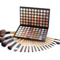 Frola Cosmetics Professional 120 Warm Colors Eyeshadow Makeup Palette #04 + 19 Pcs Makeup Brush Set