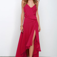 Romantic Rendezvous Berry Red High-Low Dress