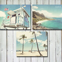 Beach photography set of 3 - Hawaii palm trees beach blue tones - home decor wall art nursery art - Set of 3 photographs 8X10
