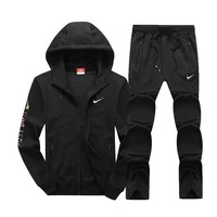 Nike Women Men Fashion Casual Hooded Cardigan Jacket Coat Pants Trousers Set Two-Piece