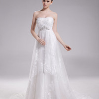 Lace wedding dress, strapless bridal dress with alencon lace overlay --MARIE