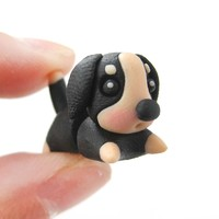 Handmade Puppy Dog Animal Fake Gauge Polymer Clay Stud Earring in Black and Tan