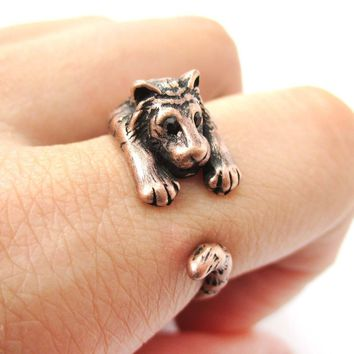 Realistic Tiger Shaped Animal Wrap Around Ring in Copper   US Sizes 4 to 9