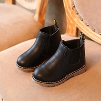 2018 spring and autumn fashion short paragraph black martin boots girl brown soft bottom childrens shoes boys kids martin boots