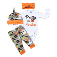 Halloween 2016 Autumn style infant clothes baby clothing sets Baby Cotton Romper +Pants+Hat+Headband baby clothes newborn