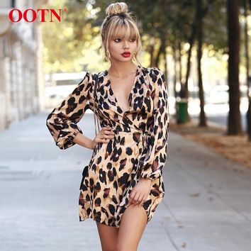 OOTN Leopard Print Women Dress Sexy Wrap Mini Dresses Long Sleeve Autumn Winter 2018 Casual Short Dress Female V Neck High Waist