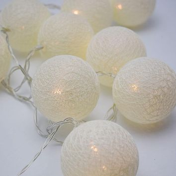 5.5 FT | 10 LED Battery Operated Beige Round Cotton Ball String Lights With Timer