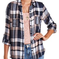Flyaway Plaid Flannel Button-Up Top by Charlotte Russe - Navy Combo