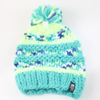 The North Face Women's Nanny Knit Pom Rave Green Beanie Hat
