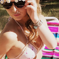 "Floral Embellished Retro Sunglasses - ""Gemma"" , Daisy Sunglasses, Round Frame Cat Eye, Flower Sunglasses"