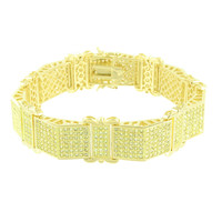 Mens Custom Design Bracelet Canary Lab Diamonds Micro Pave
