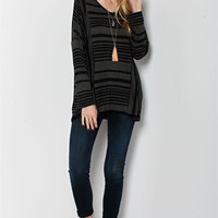 Stripe Boxy Knit V-Neck