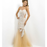 (PRE-ORDER) Blush 2014 Prom Dresses - Ivory Lace & Tulle Mermaid Prom Gown