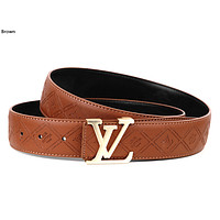 LV 2019 new retro simple men and women letter buckle belt Brown