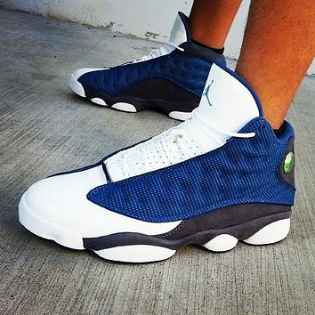 NIKE Air jordan 13 high top men's and women's color matching sneakers casual shoes White&Blue