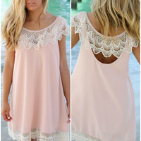 Peter Island Blush Lace Hem  Shift Dress