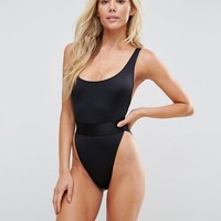 ASOS DESIGN recycled high leg elastic waist swimsuit at asos.com