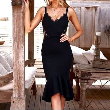 Women's Sexy Dress Sling Lace Panel Ruffle Dress black