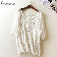 Blusa De Frio White Lace Blouse Women Blouses Crochet Top 2018 Kimono Shirt Plus Size Boho Blusas Camisa Feminina Embroidery New