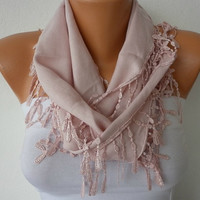ON SALE - Salmon Scarf  -  Pashmina Scarf  -  Cowl with Lace Edge