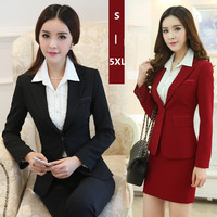 Skirt suit women office ladies skirt suits set High quality plus size 2016 new hot selling ol work wear business elegant female
