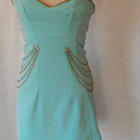 Strapless Teal Green Embellished Club Wear Dress