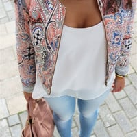 2016 Flower Print Flowers Spring Autumn women Coat short Jackets Fashion Casual Bomber Jackets For women Brand Jacket