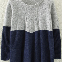 Blue and Grey Ruched Sweater